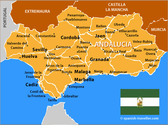 Map Of Spain Showing Andalucia Ireland Map - Map of andalusia
