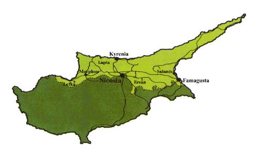 Map Cyprus - Northern Cyprus