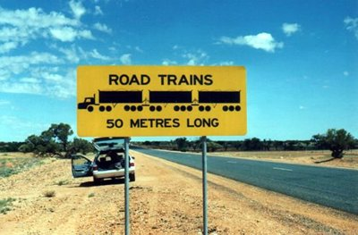 Long Road Train Warning in Australia
