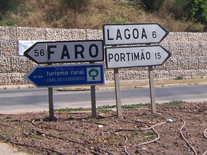 Road Sign to Faro Portugal