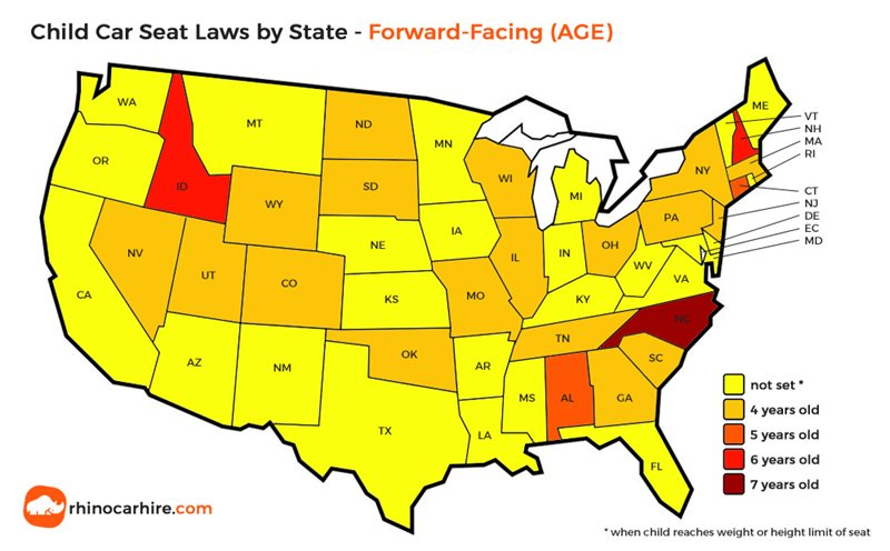 child car seat laws in us by state