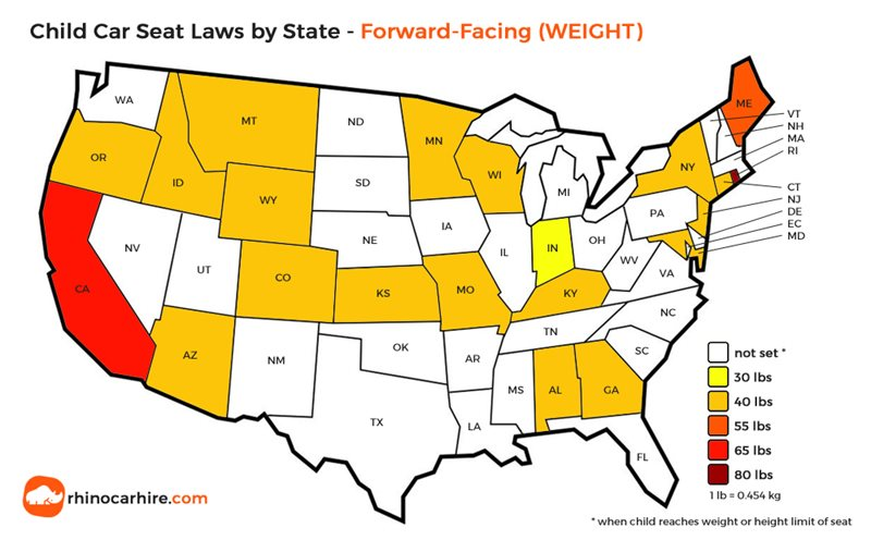 child car seat weight laws in usa by state