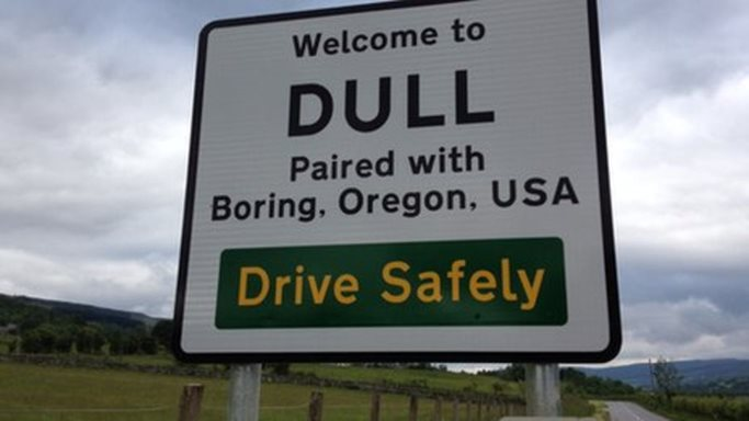 dull funny road sign