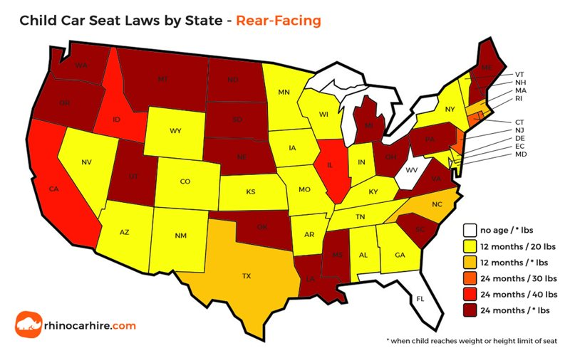 baby seat laws by state in usa