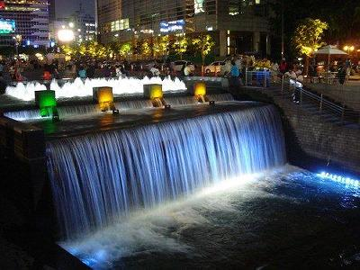South Korea - Waterfall at Night